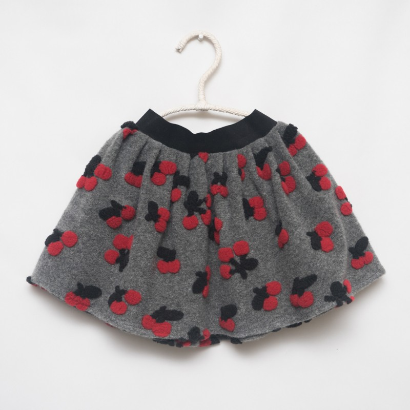 gonna - skirt - RED CHERRIES ON GREY - OttO BE Milano