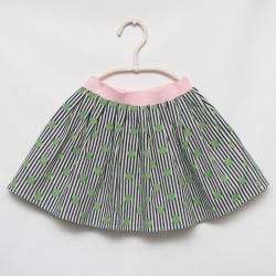 GREEN DOT ON BLACK STRIPES . MADE IN ITALY