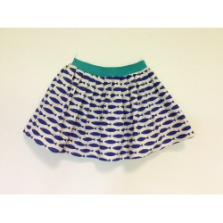 gonna - skirt - BLUE FISH ON IVORY - OttO BE Milano